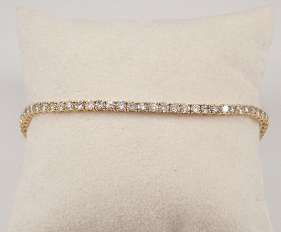 14K Yellow Gold 4.98 ct Diamond Tennis Bracelet Traditional Prong Set Line