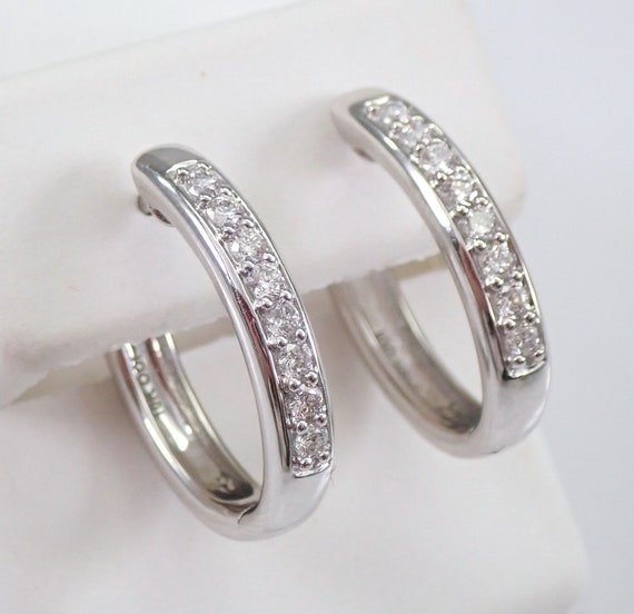 White Gold .65 ct Diamond Hoop Earrings Diamond Hoops Huggies Gift Modern Design