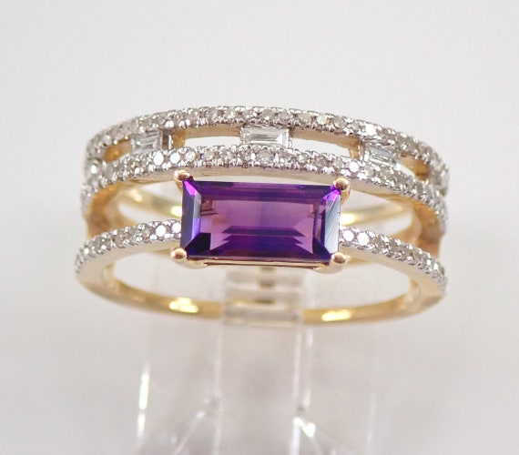Amethyst and Diamond Multi Row Stackable Ring Yellow Gold Size 7 February Gemstone