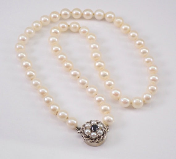"Vintage Pearl Necklace Strand 16"" 14K White Gold Centerpiece Clasp with Pearls and Sapphire"