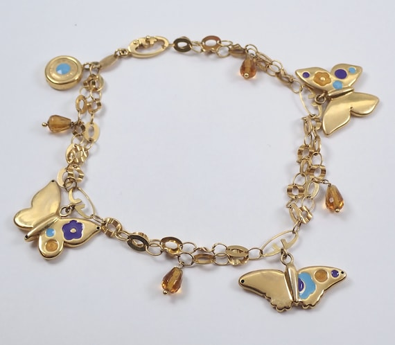 Vintage Antique 18K Yellow Gold Enamel Citrine Butterfly Charm Bracelet GRAZIELLA