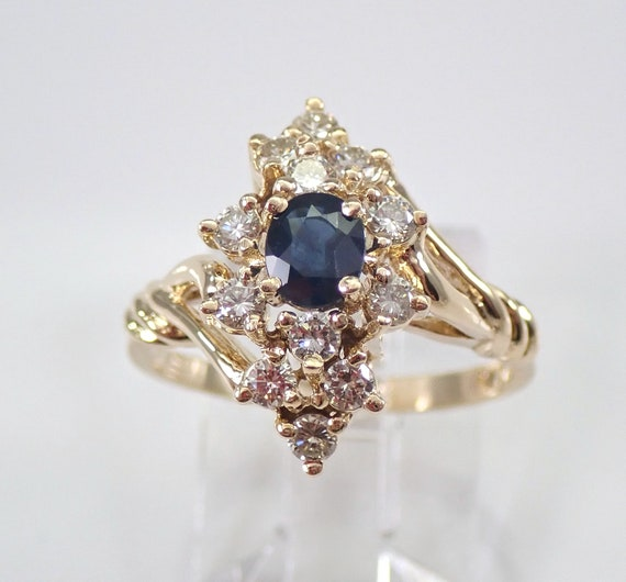 Vintage 14K Yellow Gold Diamond and Sapphire Ring Size 6.5 September Birthstone FREE Sizing