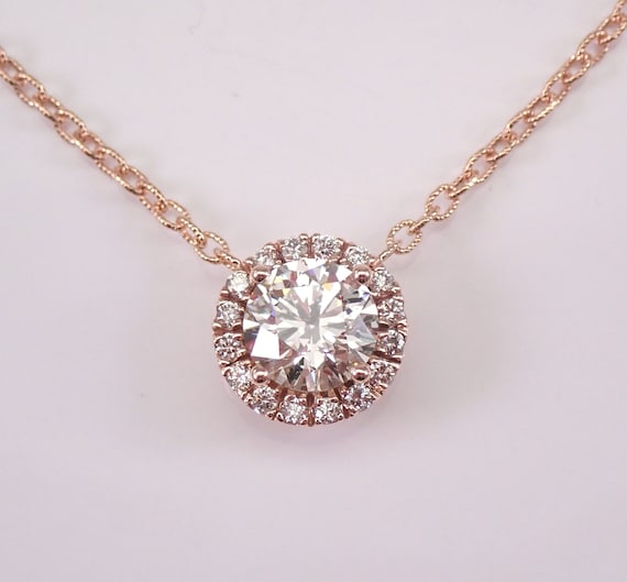 "14K Rose Gold 2.49 ct Diamond Halo Solitaire Pendant Necklace 18"" Chain Natural Genuine"