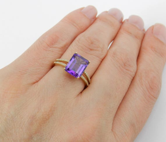 14K Yellow Gold Diamond Emerald Cut Amethyst Engagement Ring Size 7 Purple February Gemstone FREE Sizing