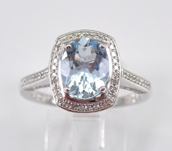 14K White Gold Diamond and Aquamarine Halo Engagement Ring Size 7 Aqua March Birthstone Free Sizing
