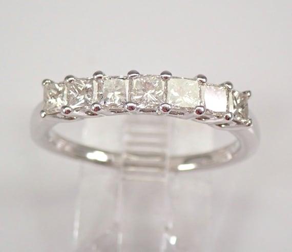14K White Gold 1.00 ct Princess Cut Diamond Wedding Ring Anniversary Band Size 8 FREE SIZING