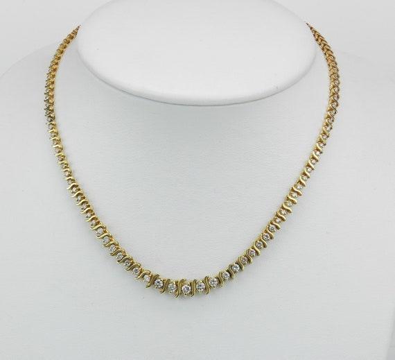 "5.26 ct Diamond Tennis Necklace 14K Yellow Gold Wedding Choker Gift 15 3/4"""