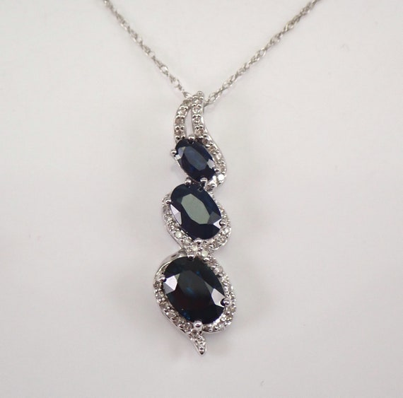 """Diamond and Sapphire 3 Stone Pendant Necklace White Gold 18"""" Chain Wedding Gift September Birthstone"""
