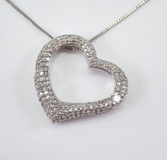 "14K White Gold 3/4 ct Diamond Heart Pendant Necklace 18"" Chain Wedding Graduation Gift Present"