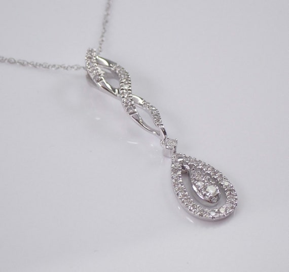 "Diamond Cluster Drop Pendant 14K White Gold Chain 18"" Wedding Necklace Gift"