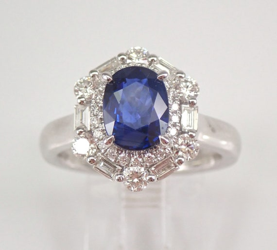 18K White Gold 2.93 ct Diamond and Sapphire Halo Engagement Ring Size 7 September Gemstone Something Blue FREE Sizing