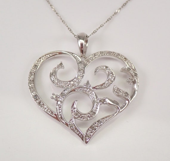 "Vintage 14K White Gold Diamond Heart Necklace 17"" Chain Filigree Pendant Wedding"