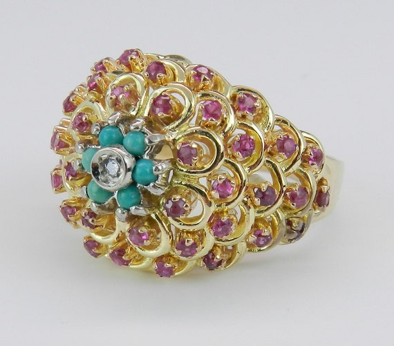Diamond Ruby and Turquoise Ring Vintage Ring Estate Cluster Ring 18K Yellow Gold Size 7