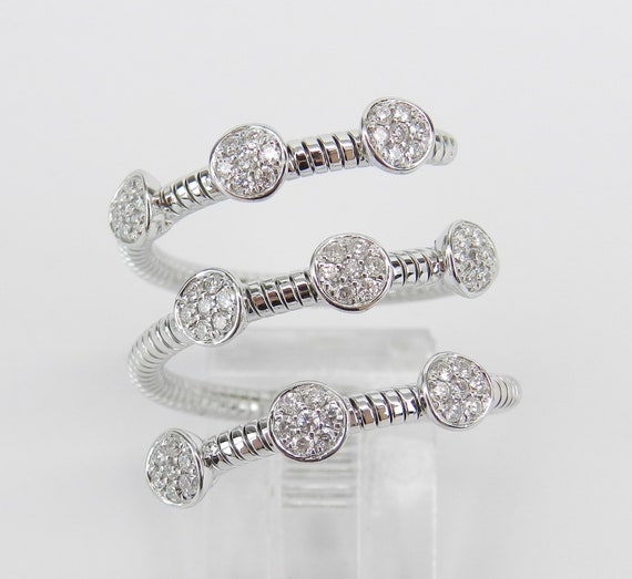 18K White Gold Diamond Multi Row Flexible Cluster Ring Anniversary Band Size 6 FREE Sizing