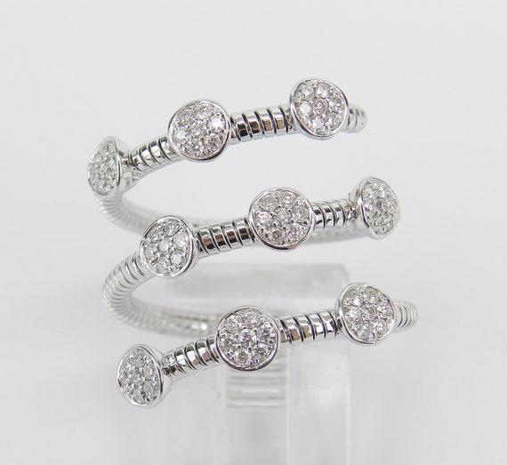 18K White Gold Diamond Multi Row Flexible Cluster Ring Anniversary Band Size 6