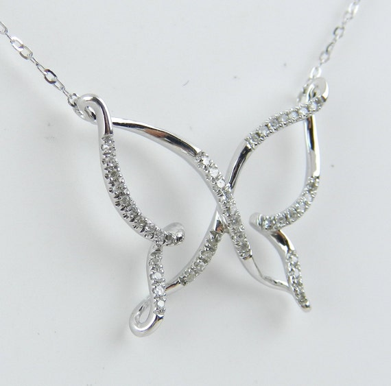 "Diamond Butterfly Necklace Pendant 14K White Gold Chain 18"" FREE SHIPPING"