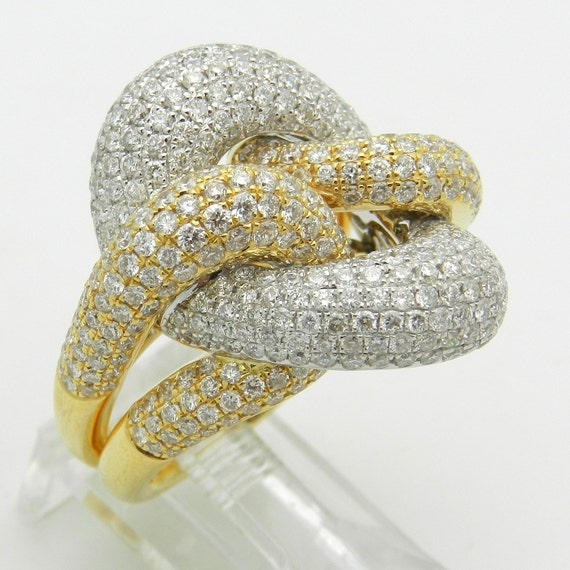 Diamond Love Knot Ring 18K White Yellow Gold 3.25 ct Size 6.75 F VS1
