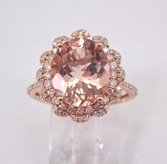 4.50 ct Morganite and Diamond Halo Engagement Ring Rose Gold Size 7 Pink Aqua FREE Sizing