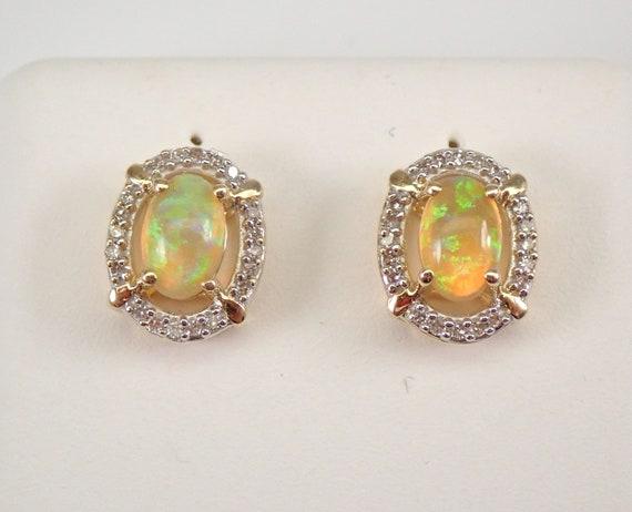 Yellow Gold Ethiopian Opal and Diamond Halo Stud Earrings October Gemstone