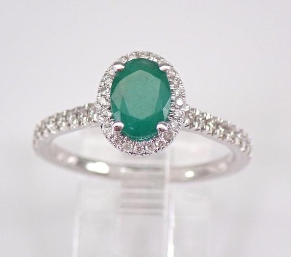 14K White Gold Diamond and Emerald Halo Engagement Ring May Promise Size 6.75 FREE Sizing