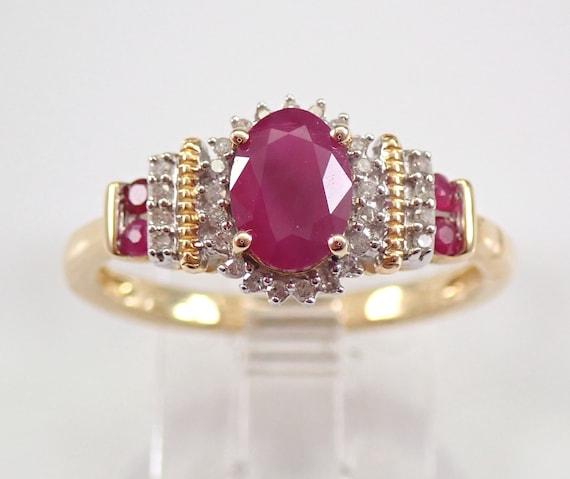 Diamond and Ruby Halo Engagement Ring Yellow Gold Size 7 July Birthstone FREE Sizing