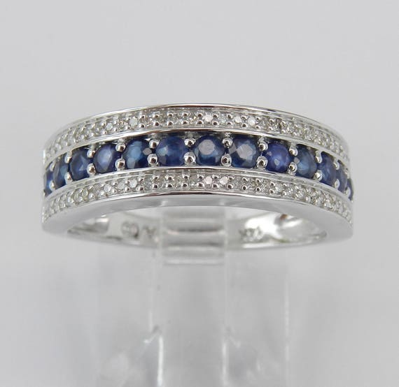 Diamond and Sapphire Wedding Ring, 14K White Gold Anniversary Band, Stackable Ring, Diamond Ring, Sapphire Band, September Birthstone