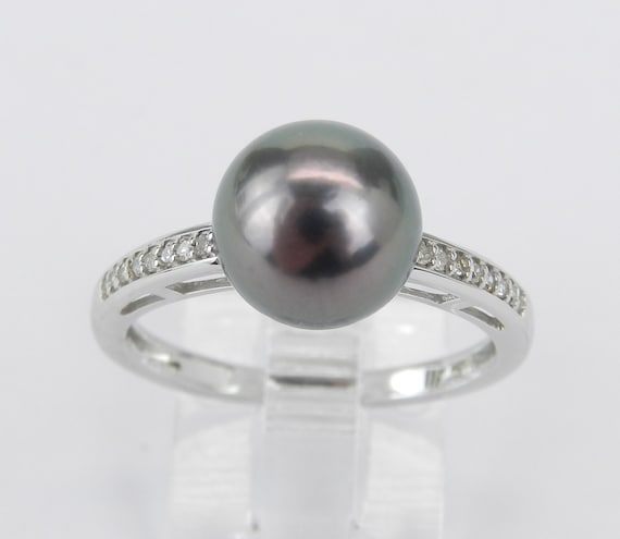 14K White Gold Diamond and Black Tahitain Pearl Engagement Ring June Birthstone Size 7