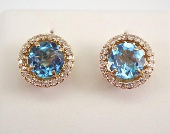 14K Yellow Gold Diamond and Blue Topaz Stud Earrings Halo Jackets Set Studs December Birthstone