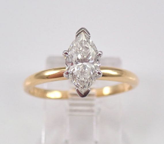 1.03 ct Marquise SOLITAIRE Diamond Engagement Ring Platinum and 18K Yellow Gold FREE SIZING
