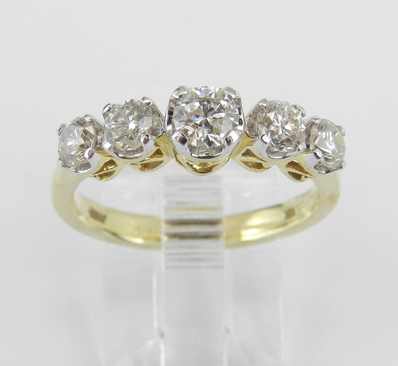 1.00 ct Diamond Wedding Ring 5-Stone Anniversary Band Yellow Gold Size 7
