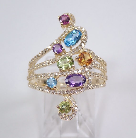 Yellow Gold Multi Color Gemstone Diamond Ring Amethyst Peridot Garnet Blue Topaz Citrine