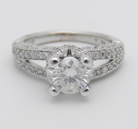 1.75 ct Round Brilliant Pave Set Diamond Engagement Ring 14K White Gold