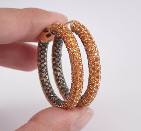 ONE OF A KIND 11.96 ct Cognac Diamond and Orange Sapphire Hoop Earrings Hoops 18K Yellow Gold