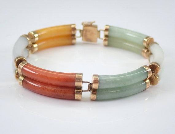 """14K Yellow Gold Vintage Estate Multi Color Jade Bracelet 7"""""""