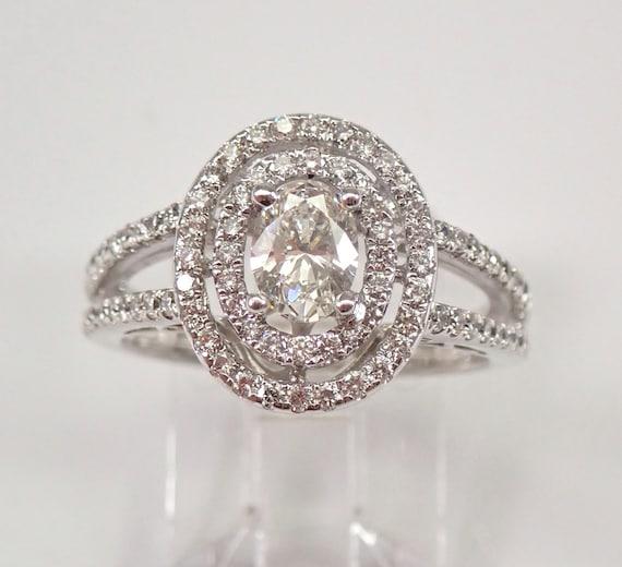 18K White Gold Oval Diamond Double Halo Engagement Ring Size 6.75 FREE SIZING