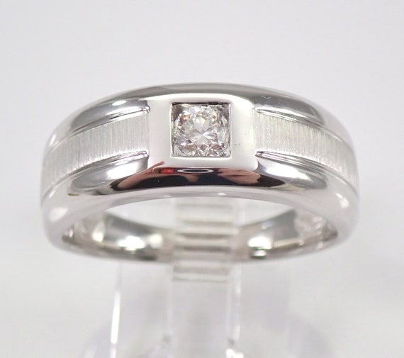 Men's White Gold Diamond Solitaire Engagement Ring Wedding Anniversary Band FREE SIZING