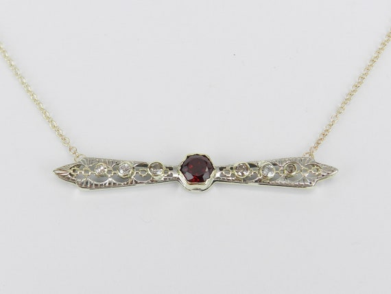 Victorian Diamond and Garnet Necklace, Spessartite Garnet Necklace, Garnet and Diamond Bar Necklace, Antique Fine Jewelry