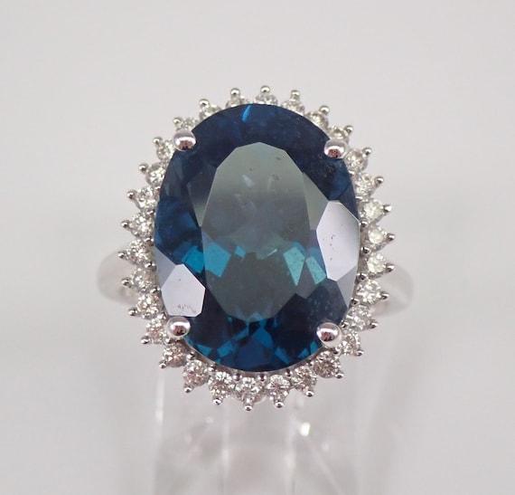 11.50 ct London Blue Topaz and Diamond Halo Engagement Ring 14K White Gold Size 7 December Birthstone FREE Sizing