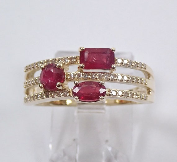 Ruby and Diamond Ring, 14K Yellow Gold Ruby Anniversary Band, Multi Row Wedding Ring, July Birthstone Mothers Ring