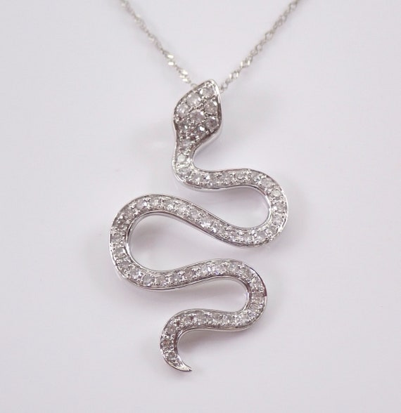 "Diamond Snake Pendant 14K White Gold Necklace 18"" Chain Unique Serpent Gift"