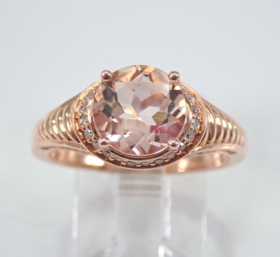 2.10 ct Morganite and Diamond Engagement Ring 14K Rose Gold Size 7 Unique Design FREE Sizing
