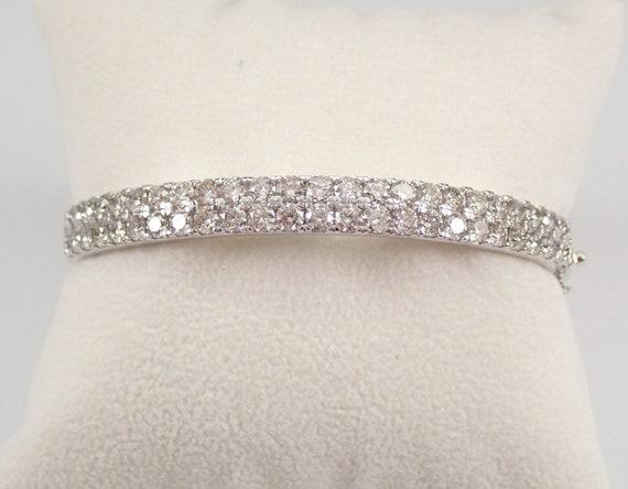 14K White Gold 5.00 ct Diamond Bangle Bracelet Hinged Cuff PERFECT GIFT