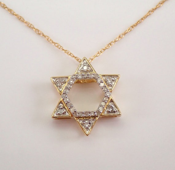 "Diamond Star of David Pendant Necklace Yellow Gold 18"" Chain Jewish Religious Charm"
