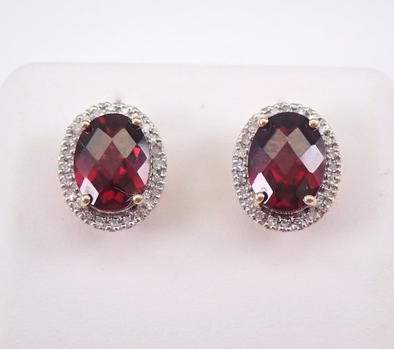 Oval Garnet and Diamond Stud Earrings Halo Studs 14K Yellow Gold January Birthstone