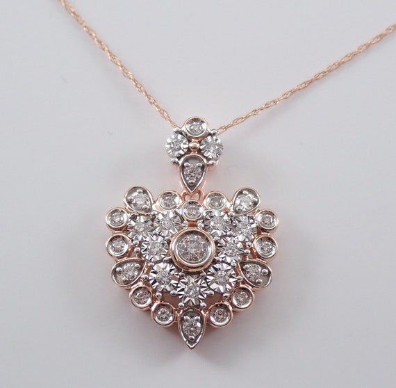 "Rose Gold Diamond Heart Pendant Cluster Necklace Slide 18"" Chain Wedding Gift"