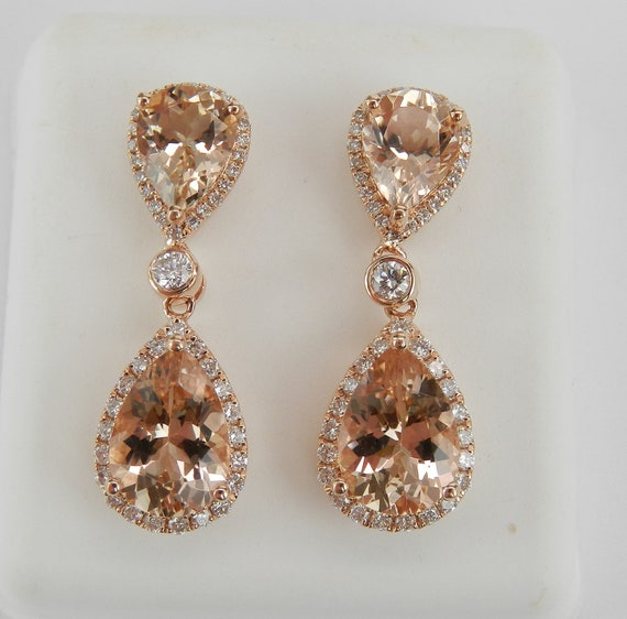 14K Rose Gold 5.65 ct Morganite and Diamond Halo Drop Dangle Earrings Pink Gemstone