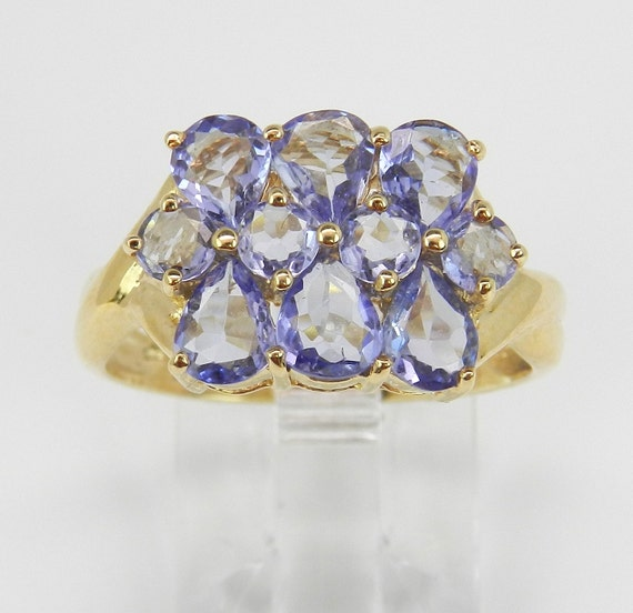 SALE PRICE! Tanzanite Cluster Cocktail Ring Purple Lavender 14K Yellow Gold Size 8 FREE Sizing