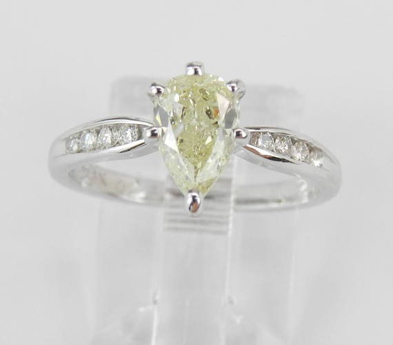 14K White Gold 1.12 ct Light Fancy Yellow Pear Diamond Engagement Ring