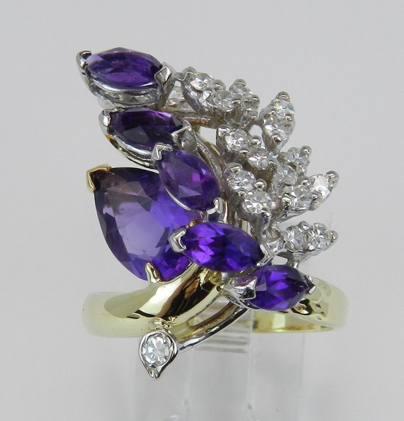 Vintage Ring Estate Ring Diamond and Purple Amethyst Ring Fashion Ring 18K Yellow White Gold Size 7.25 FREE Sizing