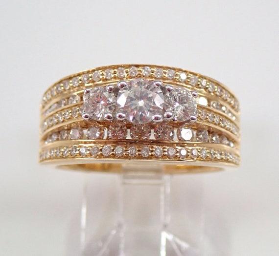 14K Yellow Gold 1.50 ct Three Stone Diamond Engagement Ring Size 7 FREE SIZING